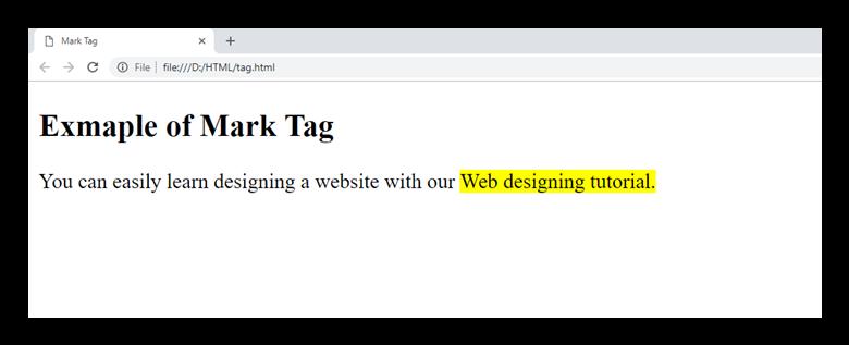 HTML mark tag