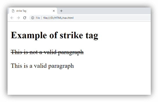 HTML strike tag