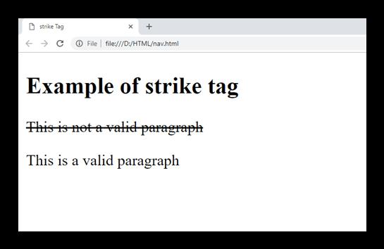 HTML strike tag