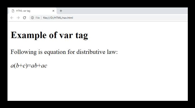 HTML var tag