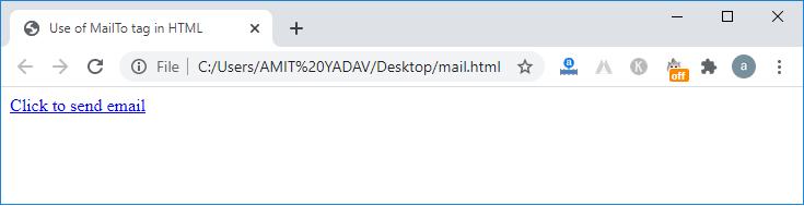 mailto HTML Tag