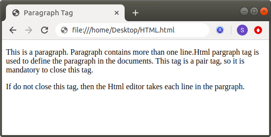 What does p mean in Html
