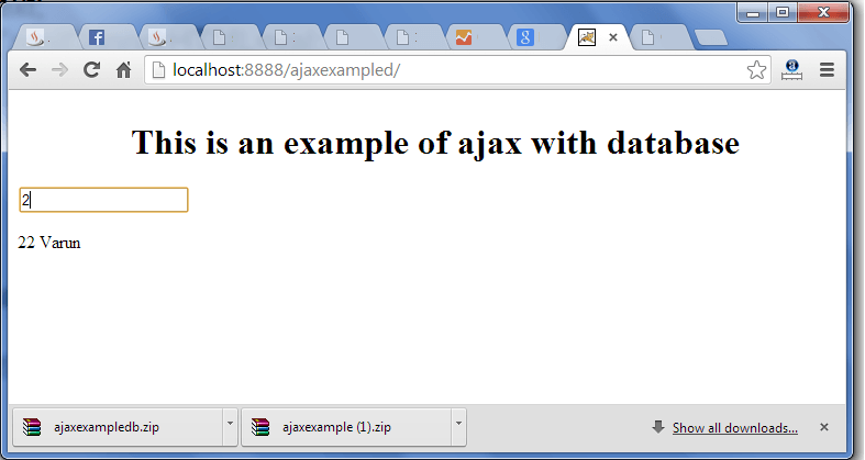 ajax example using database output