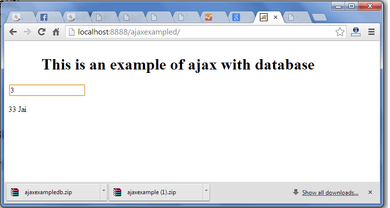ajax example using database output 2