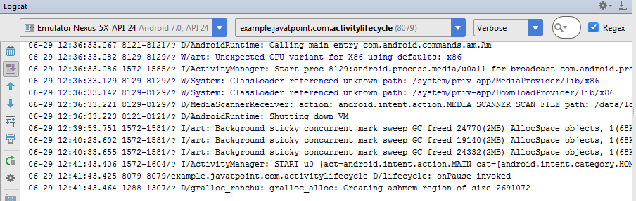 android activity life cycle example output 3