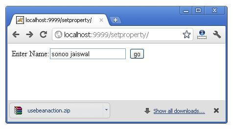 example of jsp:setProperty and jsp:getProperty action tags