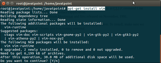 How to Install VI Editor in Ubuntu - javaTpoint