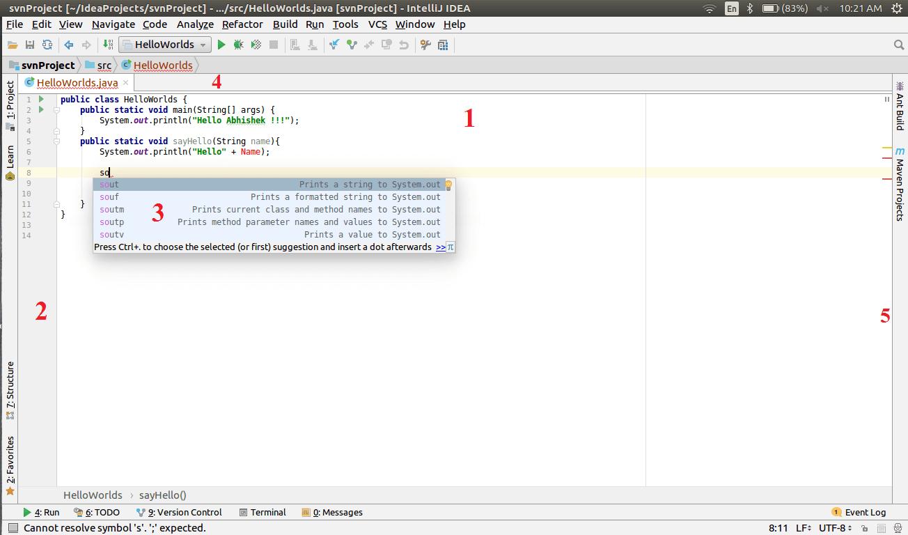 IntelliJ IDEA Code Editor Elements