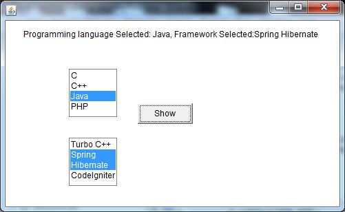 java awt list example 2