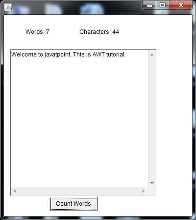 java awt textarea example 2