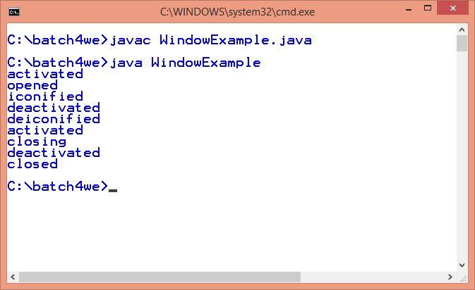 java awt windowlistener example 2