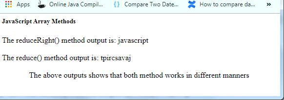 JavaScript Array reduceRight() Method