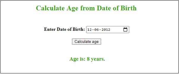 Calculate age using JavaScript