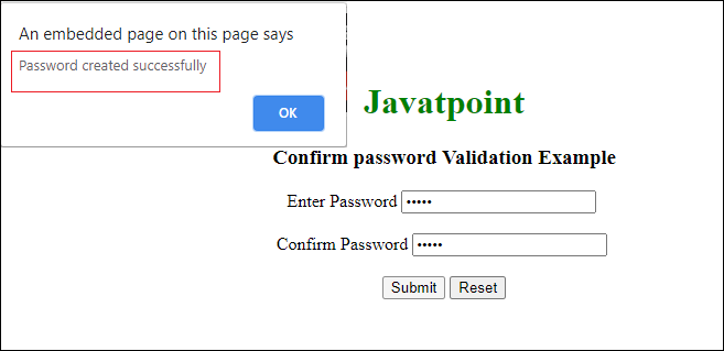 Confirm password validation in JavaScript