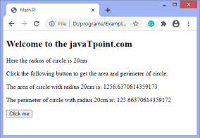 How to calculate the perimeter and area of a circle using JavaScript