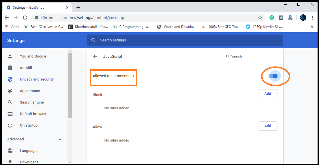 How to enable JavaScript in my browser