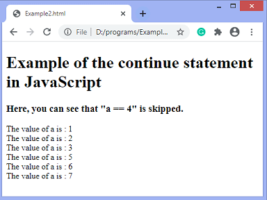 JavaScript continue statement