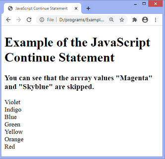 JavaScript continue statement