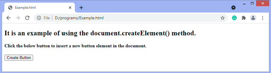 JavaScript create element