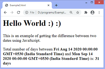 JavaScript date difference