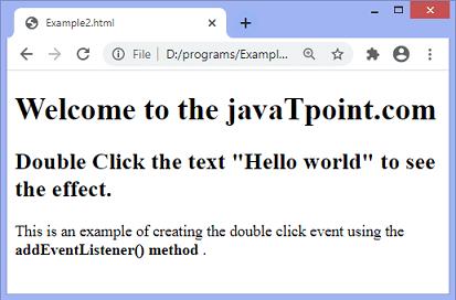 JavaScript dblclick event