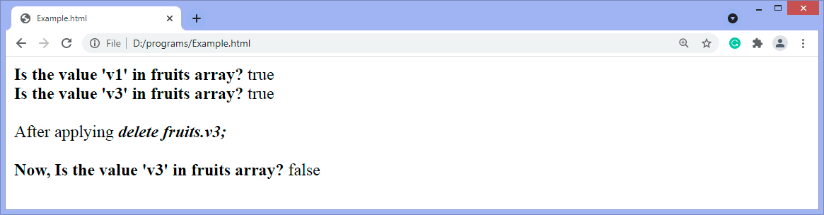 JavaScript in operator