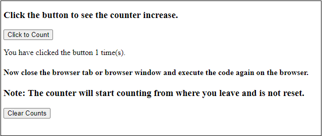 JavaScript localStorage