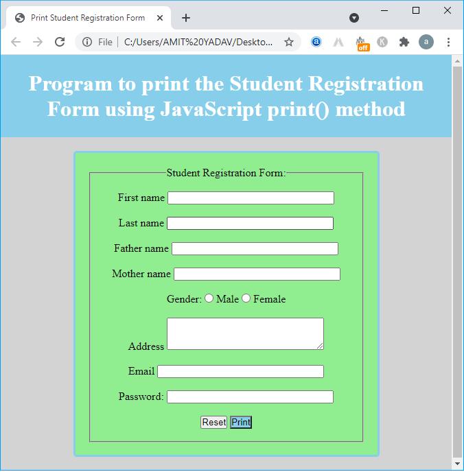JavaScript print() method