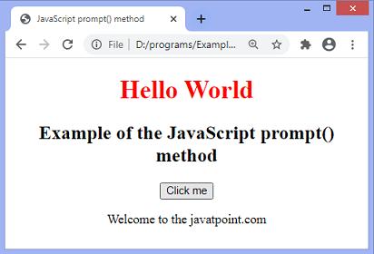 JavaScript prompt() dialog box