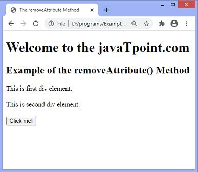 JavaScript removeAttribute() method