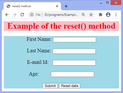 JavaScript reset