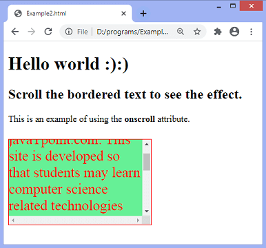 JavaScript scroll