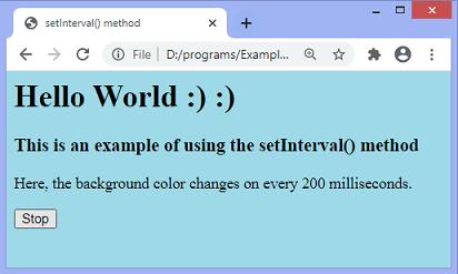 JavaScript setInterval() method