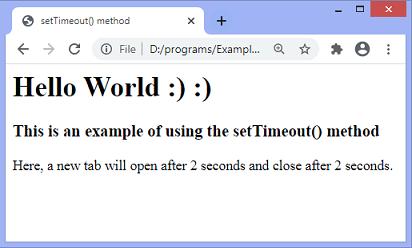 JavaScript setTimeout() method