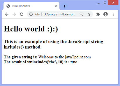 JavaScript string includes()