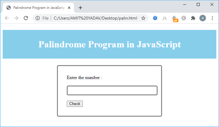 Palindrome in JavaScript