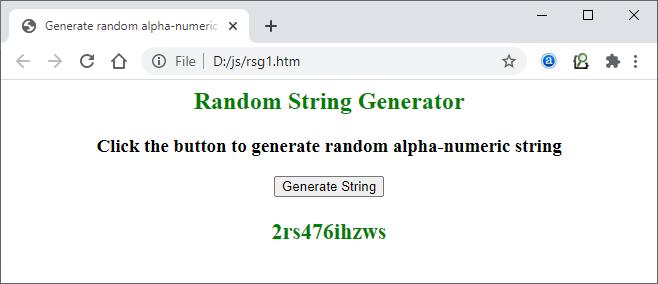 Random String Generator using JavaScript