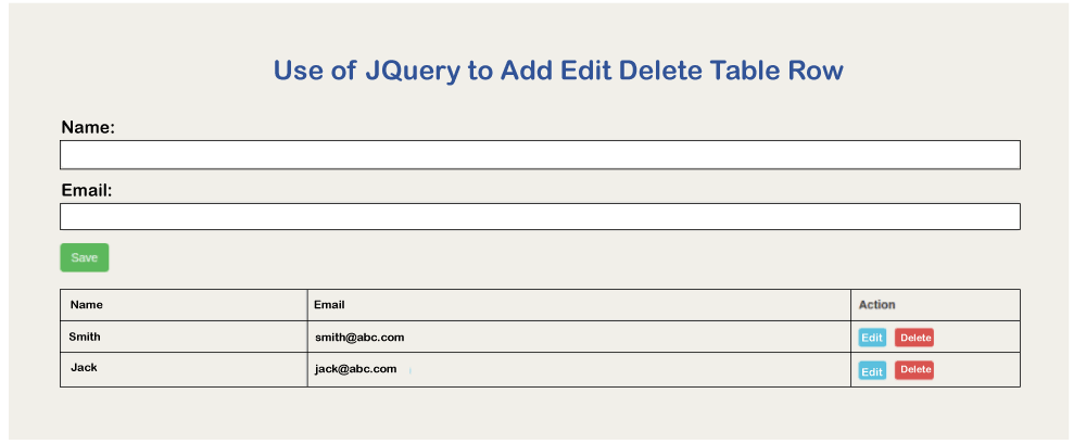 Add Edit Delete Table Row in JQuery