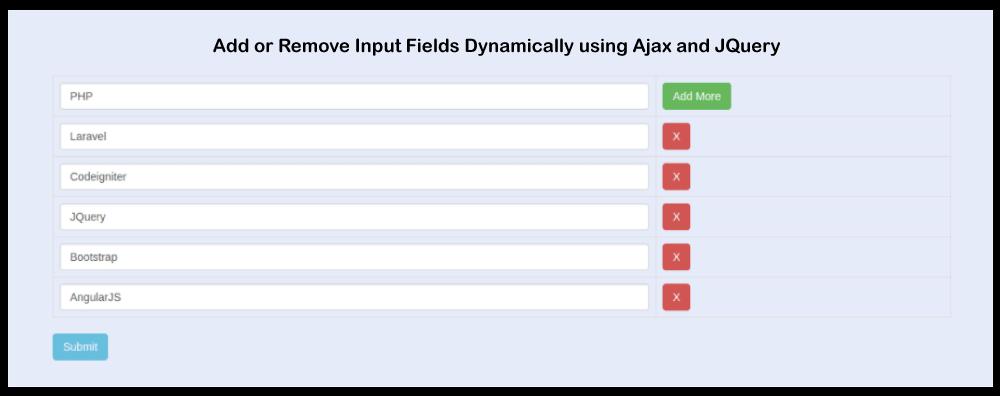 Dynamically Add Remove input fields using JQuery Ajax
