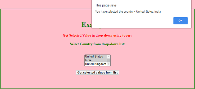 Get Selected Value in Drop-down in jQuery