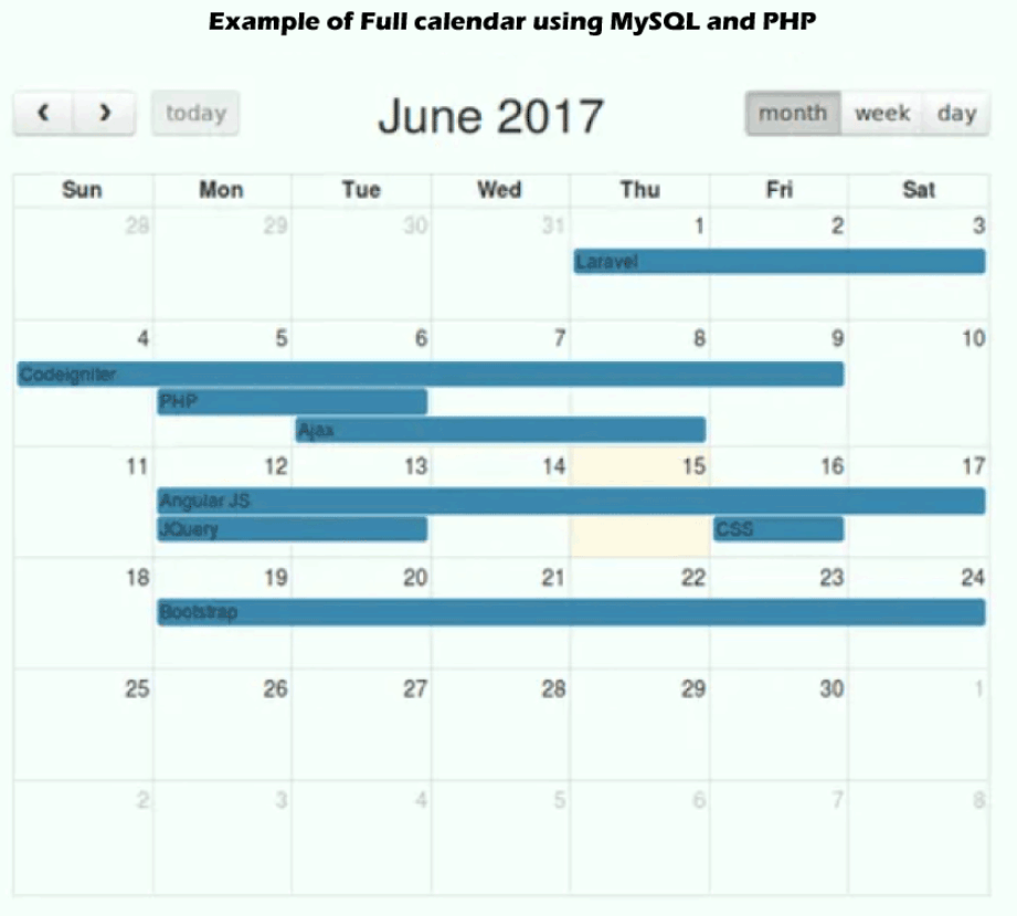 Integrate jQuery Fullcalendar using Bootstrap, PHP and MySQL