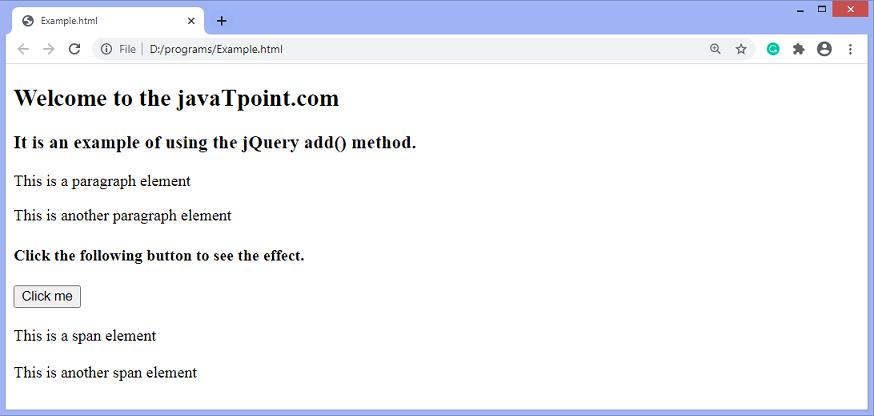 JQuery add() method