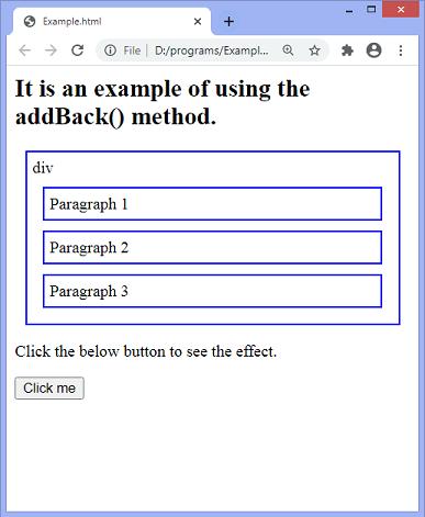 jQuery addBack() method