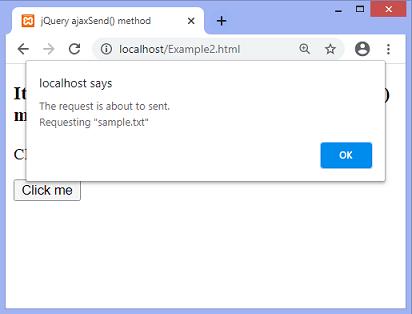 jQuery ajaxSend() method