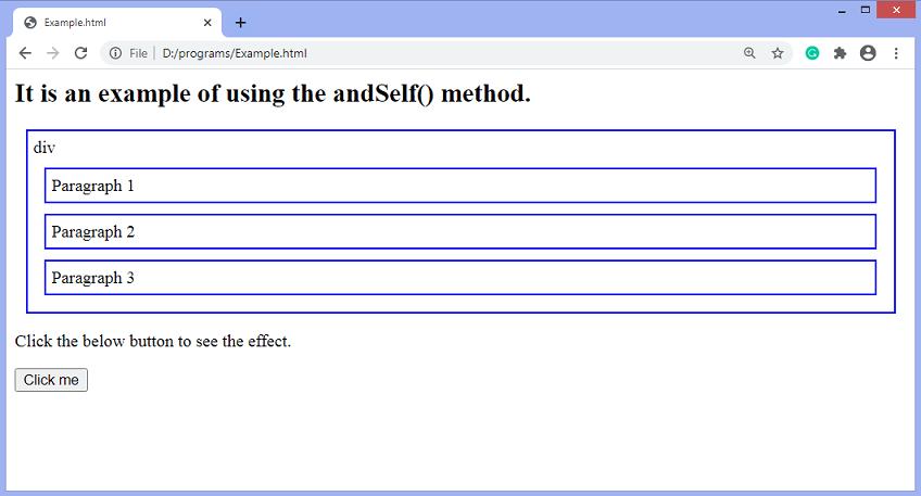 jQuery andSelf() method