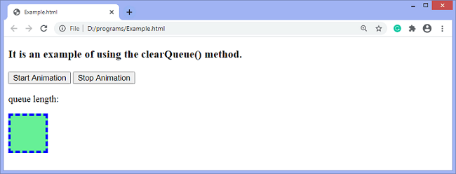 jQuery clearQueue() method