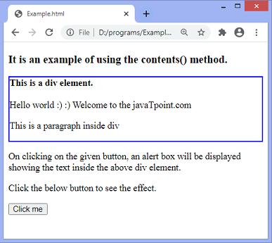 jQuery contents() method