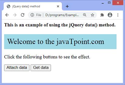 jQuery data() method