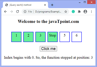 jQuery each() method