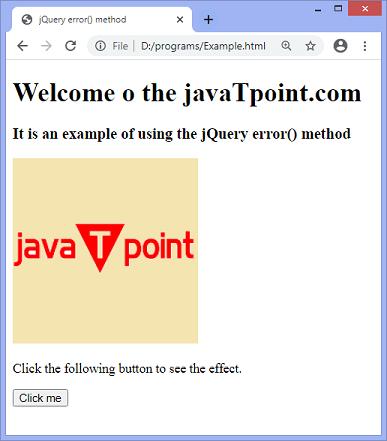 jQuery error() method